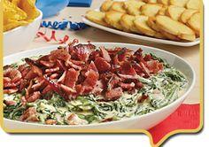Wright® Brand Peppered Bacon Spinach Dip | Wright Brand Bacon Bacon Wrapped Appetizers, Appetizer Dips, Salsa Nachos, Yummy Treats, Yummy Food, Tyson Foods, Spinach Dip, Tostadas, Tasty