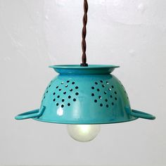 Repurposed Kitchen Colander Pendant Light Tiffany by FleaMarketRx, $82.00 Love this shop - Great idea!!