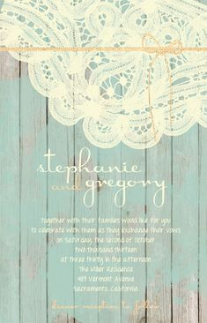 Custom Wood and Lace Aqua and Peach Wedding Invitations on Etsy, £133.22