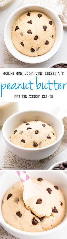 Skinny Single-Serving Chocolate Chip Peanut Butter Protein Cookie Dough -- ready in 5 minutes + 17g of protein! I made this healthy recipe every day for 2 weeks! SO good!