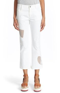 Stella McCartney 'Skinny Kick' Embroidered Mesh Trim Jeans available at #Nordstrom