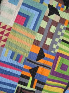 """Detail of """"GEE'S whiz, i BEND wanting a quilt like this! Thanks Row 10!"""" by Lisa Filion"""