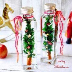 ご覧下さいましてありがとうございます。シナモンの幹にプリザーブドのヒムロスギなどで作った小さなツリーをボトルに閉じ込めて…クリスマスのディスプレイにピッタリな... Heart Exploding, Flower Bottle, Mini Glass Bottles, Plant Hanger, Crafts For Kids, Christmas Gifts, Table Decorations, Flowers, Creema