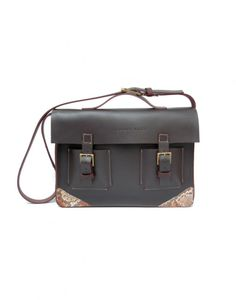Leather briefcase with Authentic python skin