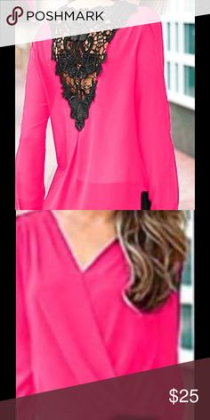 Haute and trendy blouse with faux leather trim Gorgeous neon pink blouse with faux front wrap and leather trim on the back.  Black on pink provides for a stunning and eye catching style. Polyester blend.  Long sleeves. Unbranded Tops Blouses