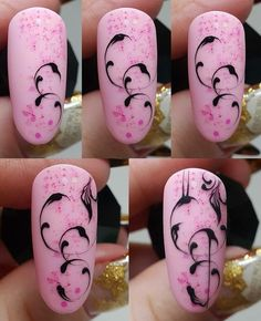 50 simple nail art tutorial for beginners Swirl Nail Art, Nail Art Diy, Easy Nail Art, Cool Nail Art, Diy Nails, Cute Nails, Pretty Nails, Nail Art Arabesque, Monogram Nails