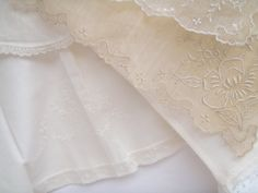 Baby clothes are like little handmade bouquets. Intricate and soft with delicate folds like petals. Junk Chic Cottage, Cottage Signs, White Coverlet, Pink Home Decor, Heirloom Sewing, Rose Cottage, Pin Tucks, Vintage Love, Lace