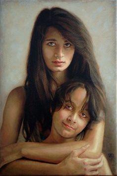 Jhila & Cameron Potrait, Oil on Canvas by Timna Woollard