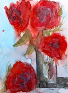 Red Roses Watercolor on Paper x Watercolor Rose, Watercolour Painting, Watercolours, Lilac Flowers, Red Roses, Bird Artists, Irish Landscape, Irish Art, Botanical Art