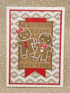 Gingerbread Christmas card using Stampin Up Cookie Cutter Christmas stamp & punch bundle, Candy Cane Lane suite & Wonderful Year stamps from 2016 Holiday Catalogue. By Di Barnes #colourmehappy