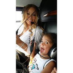 Motherly love: Mariah Carey, shared a photo of her and her daughter Monroe on Monday as they rode in a helicopter over Israel. The caption read 'In a chopper over Jerusalem. Mariah Carey Pictures, Celebrity Babies, Female Singers, Celebs, Celebrities, Mothers Love, Mommy And Me, Marie, Children