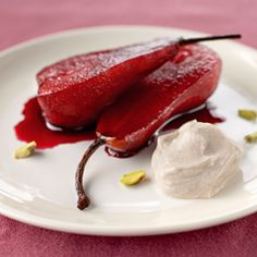 Red wine poached pears with cinnamon yoghurt