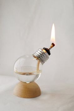 Mini Recycled Light Bulb Oil Lamp