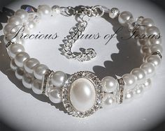 White Pearl Double Layer Pearl/Rhinestone Bling Dog Collar Custom Sized to Fit Your Dog on Etsy, $25.00