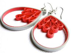 Items similar to Red Dangle Earrings / Unique Fashion Jewelry / Red Gray Filigree Earrings / Quilled Paper Jewelry on Etsy