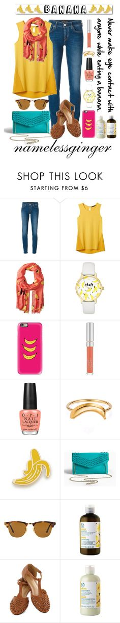 """""""that's bananas"""" by namelessginger ❤ liked on Polyvore featuring Jacob Cohёn, Banana Republic, Kate Spade, Casetify, OPI, Lee Renee, White Label, Georgia Perry, Torrid and Ray-Ban"""