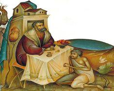 Il Ricco Epulone e il povero Lazzaro Byzantine Icons, Byzantine Art, Religious Icons, Religious Art, Life Of Jesus Christ, La Art, Orthodox Icons, Russian Art, Christian Art