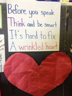Classroom Community Building Have student wrinkle up the paper heart (not tearing it) and then try to flatten it out. Discuss how words or actions can harm a heart and take time to heal. Good first week of school activity Classroom Behavior, Future Classroom, Classroom Management, Behavior Management, Classroom Ideas, Behavior Bulletin Boards, Kindness Bulletin Board, Classroom Expectations, Classroom Procedures