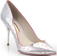 """Sophia Webster """"Izzy"""" Silver and Pink Polka Heart with Sweetheart Toe Shaping"""