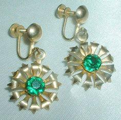 Vintage Green Rhinestone Flower Drop Earrings by BorrowedTimes