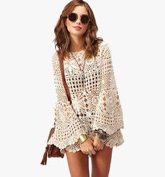 Crochet clothes and crochet patterns by CrochetWithNina Crochet Tunic, Crochet Clothes, Crochet Lace, Mandala Crochet, Estilo Hippie, Crochet Summer Tops, Moda Boho, Crochet Woman, Beautiful Crochet