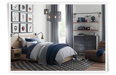 Rooms | Restoration Hardware Baby & Child : dresser, bed lamps, sports pics
