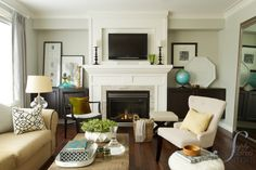 Family room ~ pretty colors (wall color is Dolphin Fin by Behr)