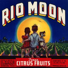 This fruit crate label was used on Rio Moon Texas Citrus, c. 1940s: 'Rio Moon Texas Citrus Fruits. Packed & Shipped by H. Rouw Company Edinburg, Texas. Produce of U.S.A.' Crate labels were a frequent means of marketing fruit and vegetable packer brands at the turn of the century.