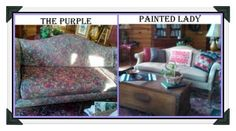 """Use Chalk Paint® decorative paint by Annie Sloan to paint your couch..check out The Purple Painted Lady for """"before & after's"""""""