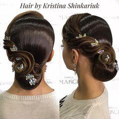 ▪️Hair by Kristina Shinkariuk ▪️. Latin Hairstyles, Bride Hairstyles, Ballroom Dance Hair, Braid Styles For Girls, Competition Hair, Bridal Hair Updo, Natural Hair Styles, Long Hair Styles, Hair Decorations