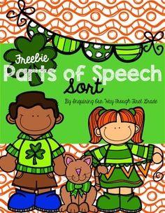 St. Patrick's Day Parts of Speech {Freebie}