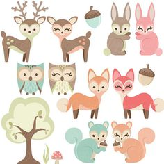 Woodland Nursery Clipart, Baby Animals Clip Art, Forest Friends Baby Shower…