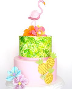 Flamingo summer birthday cake with pineapples and colourful flowers See this Instagram photo by @sugarcoat.hk • 71 likes