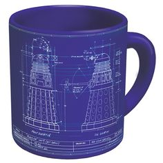 Doctor Who coffee mug with the blueprint of the dalek on it. This genesis of the Dalek mug looks amazing and will be a great gift for a Doctor Who fan. Doctor Who Shop, Doctor Who Gifts, Doctor Who Dalek, Presents For Doctors, Power Of The Daleks, Thing 1, Christmas Gifts For Mom, Christmas Ideas, Mugs
