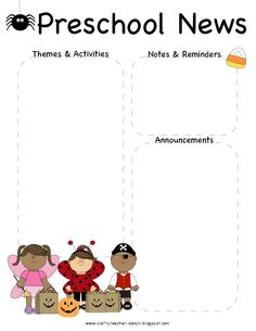 October, Halloween Preschool Newsletter Template | The Crafty Teacher