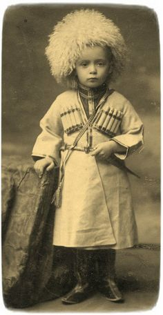 Little Russian Cossack, old photo, late 19th century