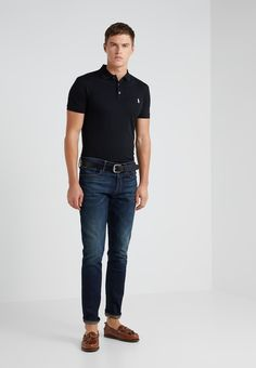 Polo Ralph Lauren SLIM FIT - Polo shirt - black for Free delivery for orders over Ralph Lauren Slim Fit, Polo Ralph Lauren, Slim Fit Polo Shirts, Fabric Material, Fitness Models, Normcore, Mens Fashion, Black, Pique