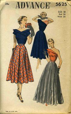 Advance 5625 circa 1950 blouse & skirt
