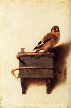 Carel Fabritius(1622 - 1654). The Goldfinch, 1654. Oil on Canvas. 13 x 9 in (33 x 23cm)