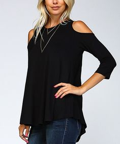 Black Shoulder-Cutout Tunic