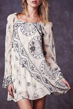 Bell Sleeve Embroidered Sequins Flare Dress by imelda
