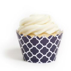 Navy Blue Spanish Tile Cupcake Wrappers