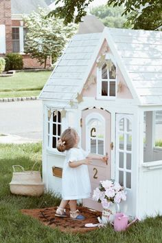 Costco Playhouse Hack: How to Transform an Outdoor Cedar Playhouse with Paint! – The Pink Dream - Kids playhouse Costco Playhouse, Cedar Playhouse, Backyard Playhouse, Build A Playhouse, Playhouse Ideas, Kids Outside Playhouse, Painted Playhouse, Kids Plastic Playhouse, Girls Playhouse