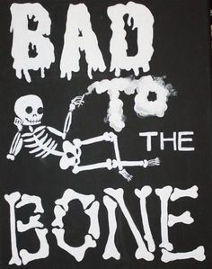 Bad To The Bone Skeleton Art on Canvas by PinMeUpAccessories Comic Cat, Que Horror, Grunge, Skeleton Art, Bad To The Bone, Creepy Cute, Scary, Hipster, Skull And Bones