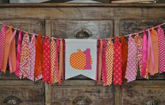 Girls pink & orange pumpkin first 1st birthday highchair fabric rag banner garland/I am 1 one photo prop/Fall/Autumn birthday party decor