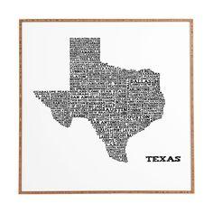 Restudio Designs Texas Map Framed Wall Art   DENY Designs Home Accessories