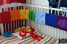Crib Bumper and Quiet book in one: 7 colors of the rainbow, 7 elements of weather and nature
