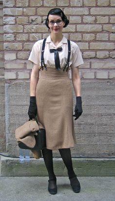 Awesome vintage menswear inspired ensemble.  Love the high waist skirt wish suspenders : stunnig !!