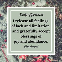 Daily I release all feelings of lack and limitation and gratefully accept blessings of joy and abundance. Positive Thoughts, Positive Vibes, Positive Quotes, Money Affirmations, Positive Affirmations, John Assaraf, Law Of Attraction, Self Improvement, Encouragement