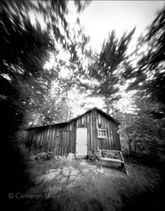 pinhole photograph of naturalist Aldo Leopold's shack near Baraboo.